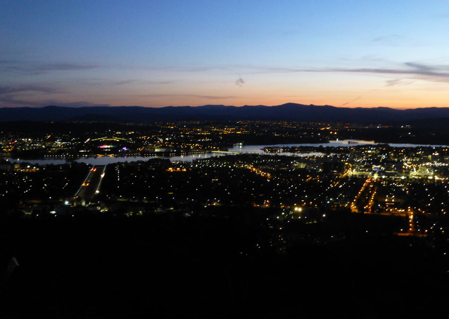 View over Canberra by night