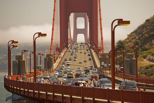 Driving over Golden Gate Bridge, San Francisco