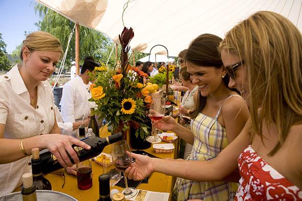 Visitors enjoying some California wine.