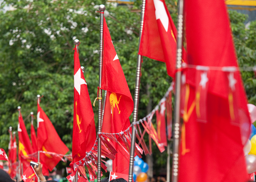 Flags celebrating the arrival of Aung San Suu Kyi in Myanmar
