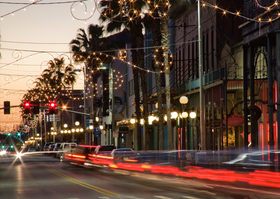 Florida street in the evening with lights.
