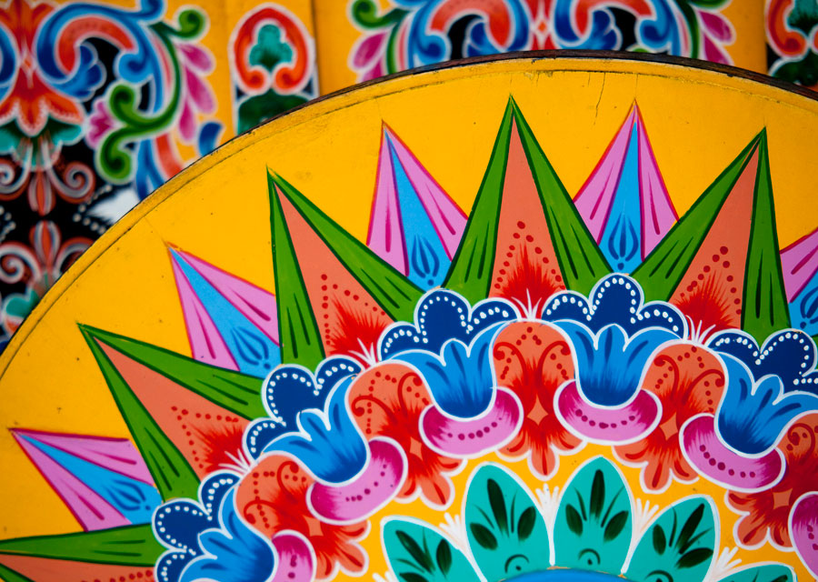 A traditional hand-painted ox-cart in the mountain town of Sarchí.