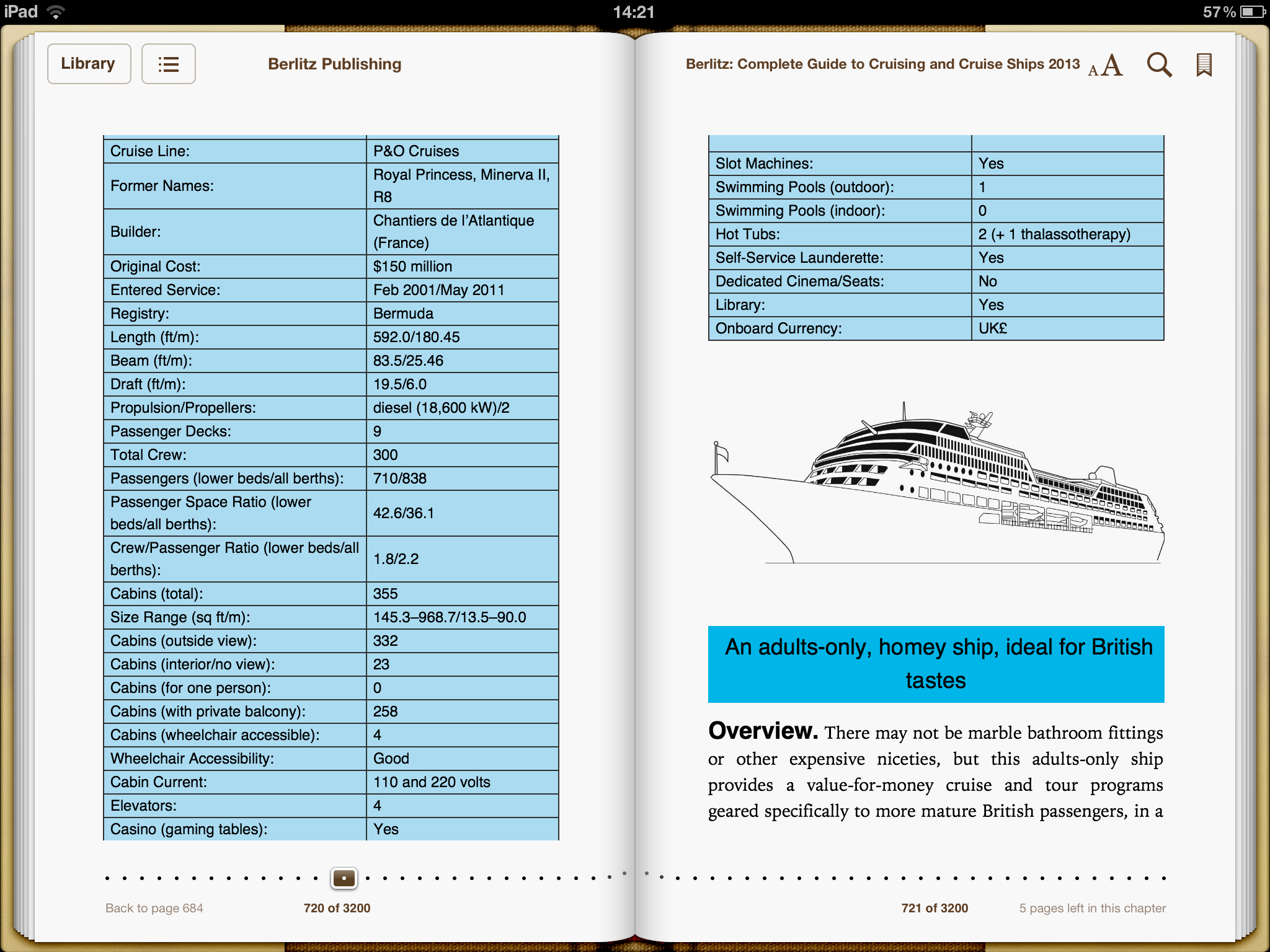 Screenshot of the ebook version of the Berlitz Complete Guide to Cruising and Cruise Ships 2013