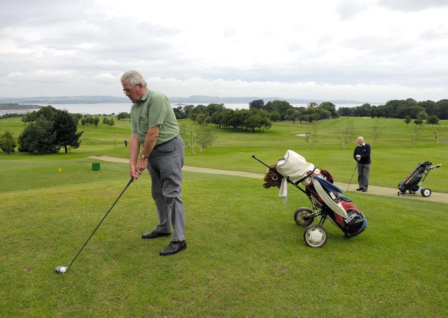 Playing golf near Edinburgh