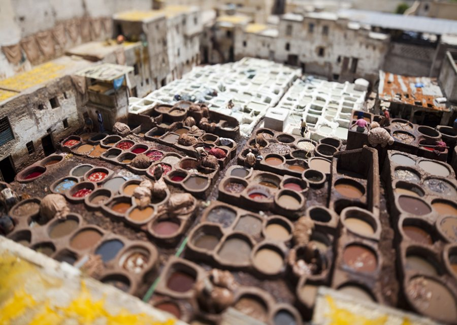 a tiltshift photograph of the chouaras tanneries in fez photo by ming
